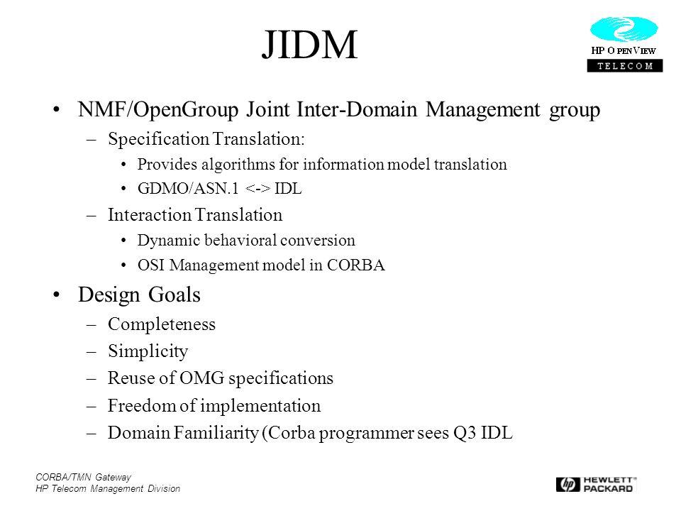JIDM NMF/OpenGroup Joint Inter-Domain Management group Design Goals