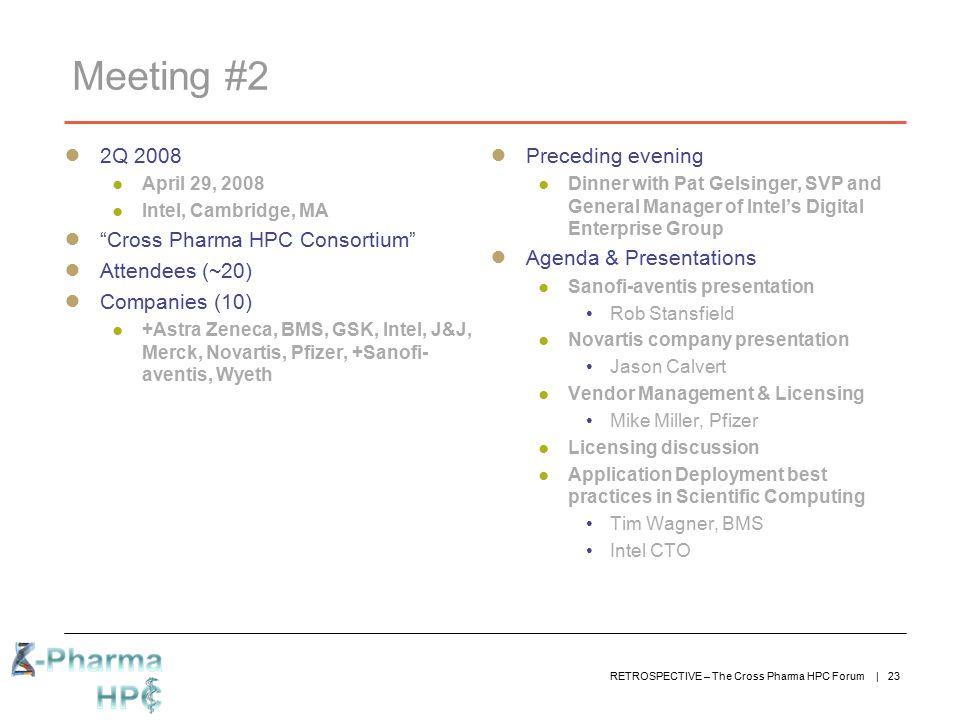 Meeting #2 2Q 2008 Cross Pharma HPC Consortium Attendees (~20)