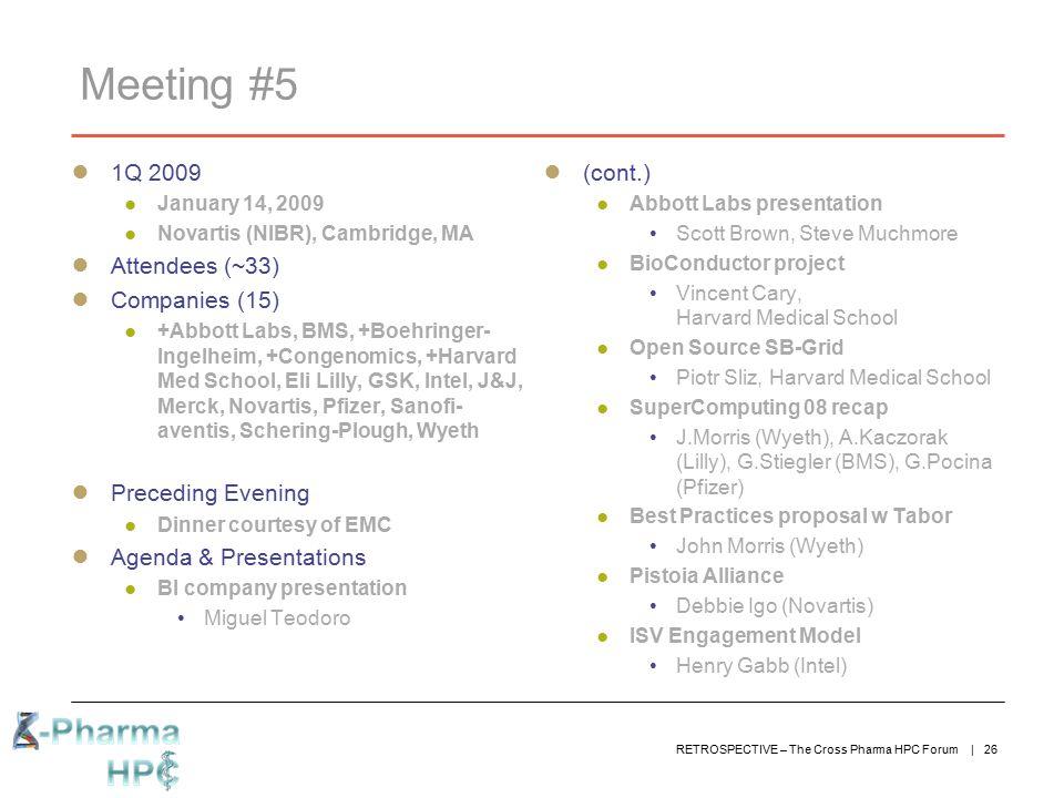 Meeting #5 1Q 2009 Attendees (~33) Companies (15) Preceding Evening