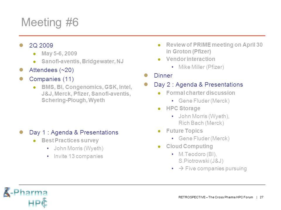 Meeting #6 2Q 2009 Attendees (~20) Dinner Companies (11)
