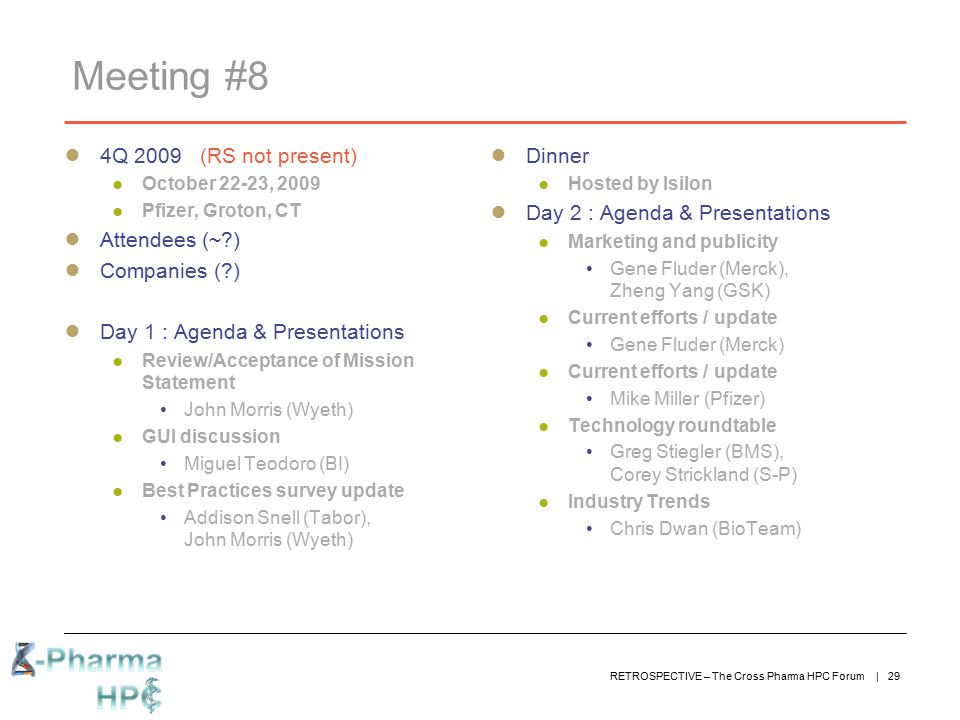 Meeting #8 4Q 2009 (RS not present) Attendees (~ ) Companies ( )