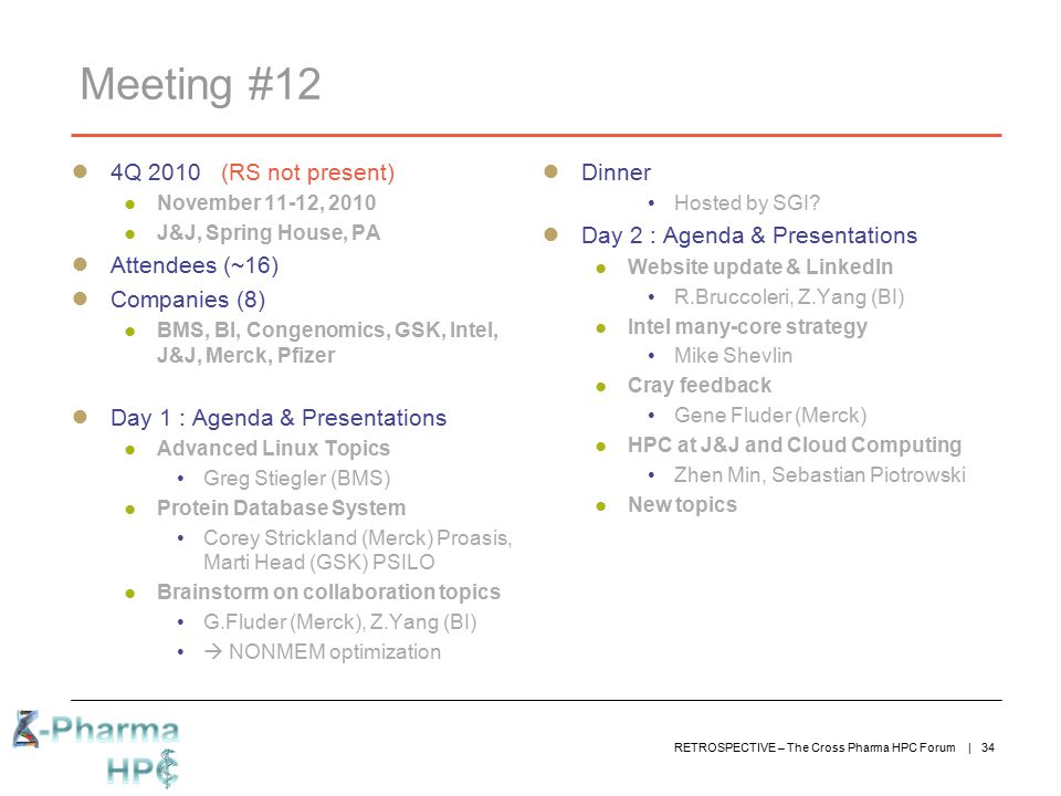 Meeting #12 4Q 2010 (RS not present) Attendees (~16) Companies (8)