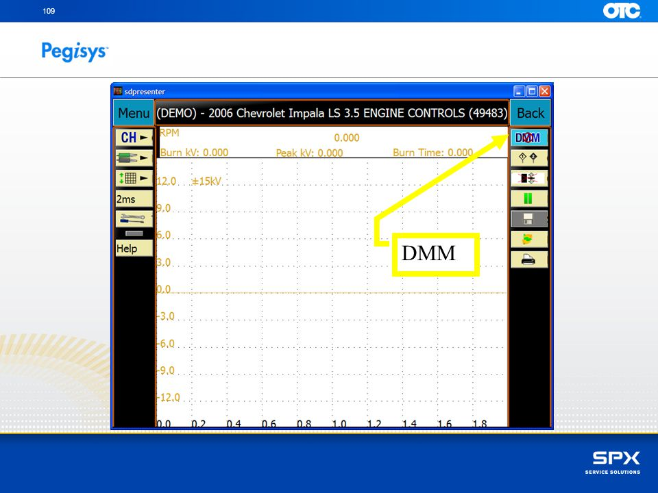 109 DMM With your finger touch the DMM icon to view digital information of the scope pattern