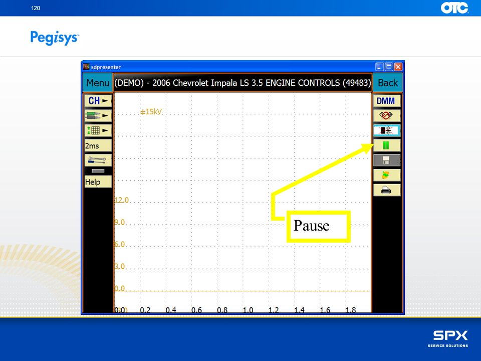 To pause the scope pattern for review tap the stylus on the pause icon