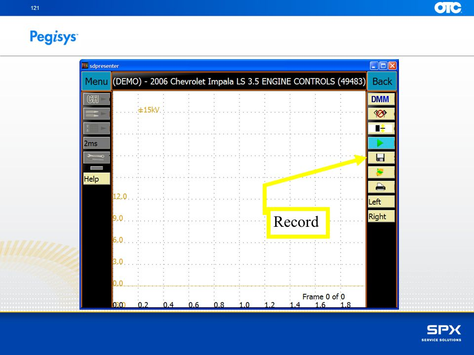 121 Record To record the pattern to memory, tap on the Record icon with your stylus
