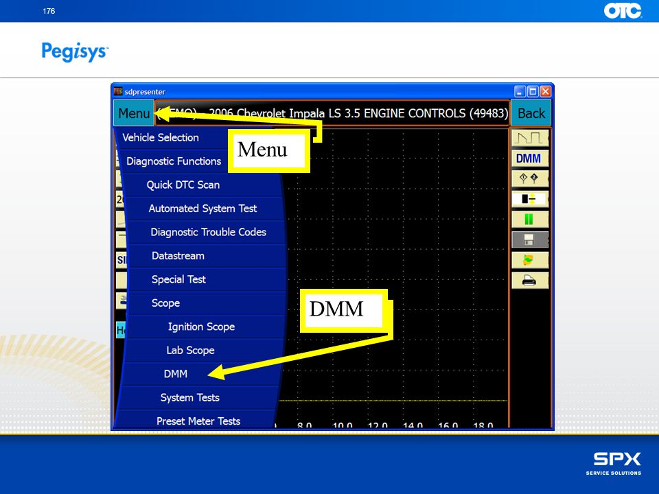 176 Menu DMM Touch on the Menu button and then touch on the DMM – Digital Multi Meter