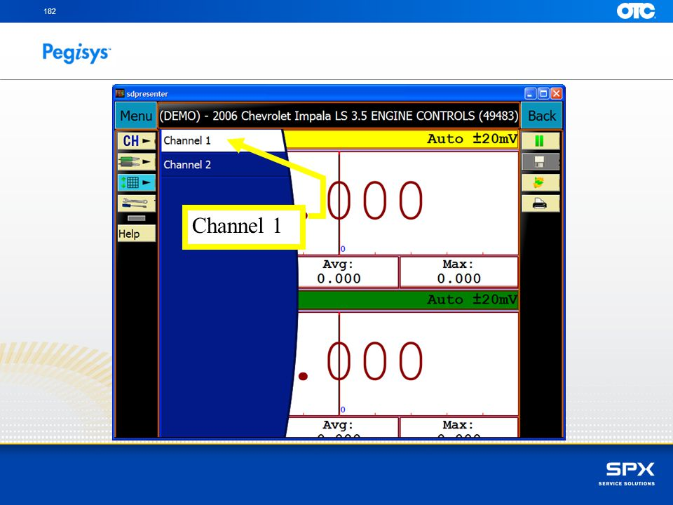 182 Channel 1 With the left SpeedScroll scroll down to the Voltage icon and press Enter