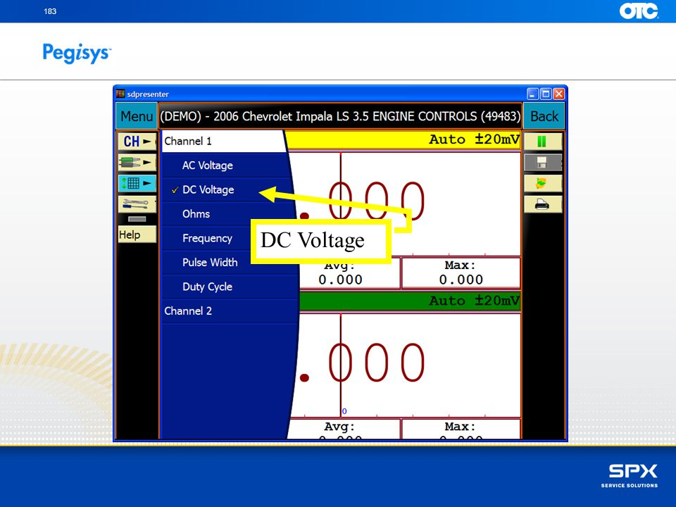 Select the voltage test measurement to be made