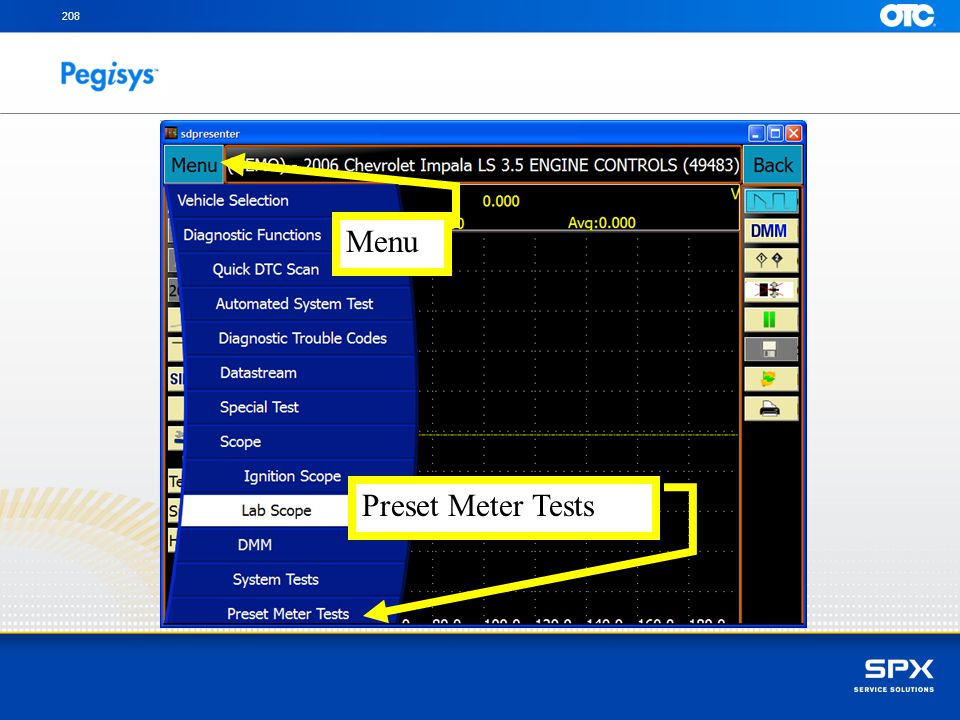 208 Menu. With your finger touch on the Menu button and then with your finger touch on the Preset Meter Tests.