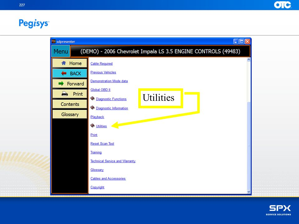 With the right SpeedScroll scroll down to Utilities and press Enter