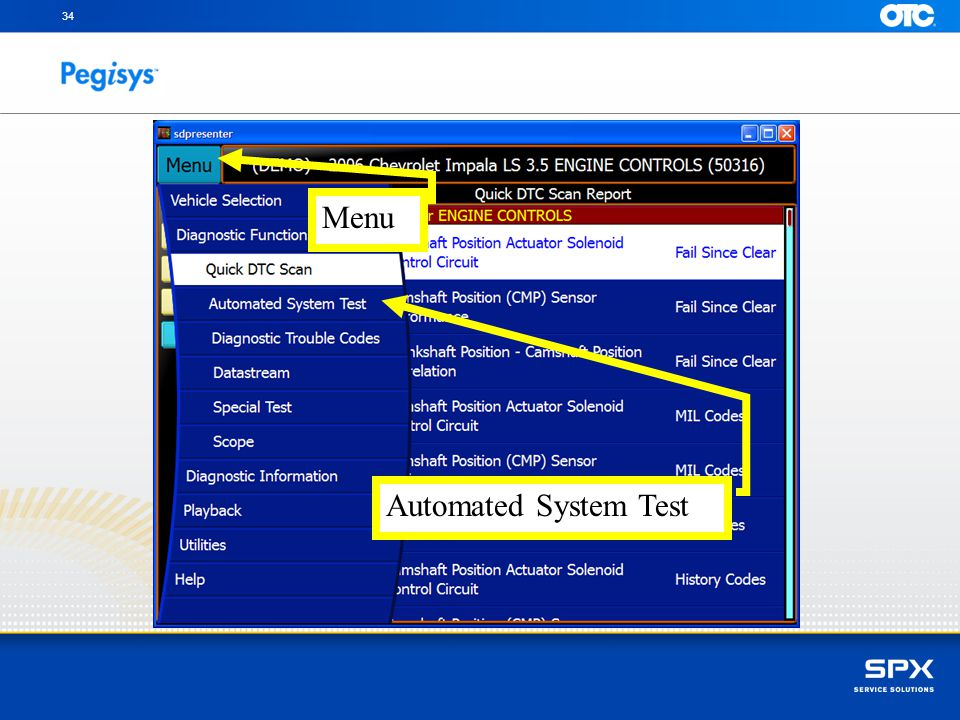 34 Menu. Touch the Menu button in the upper left and one click on Automated System Test.