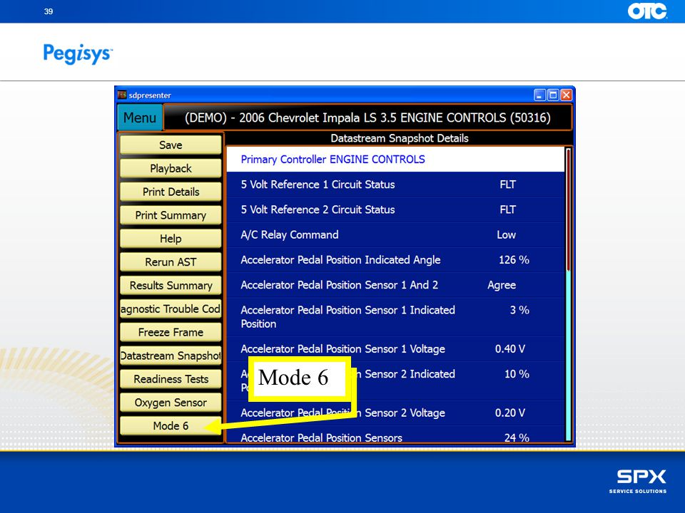 39 You can scroll and review captured Data items, SpeedScroll to Mode 6 and press Enter Mode 6