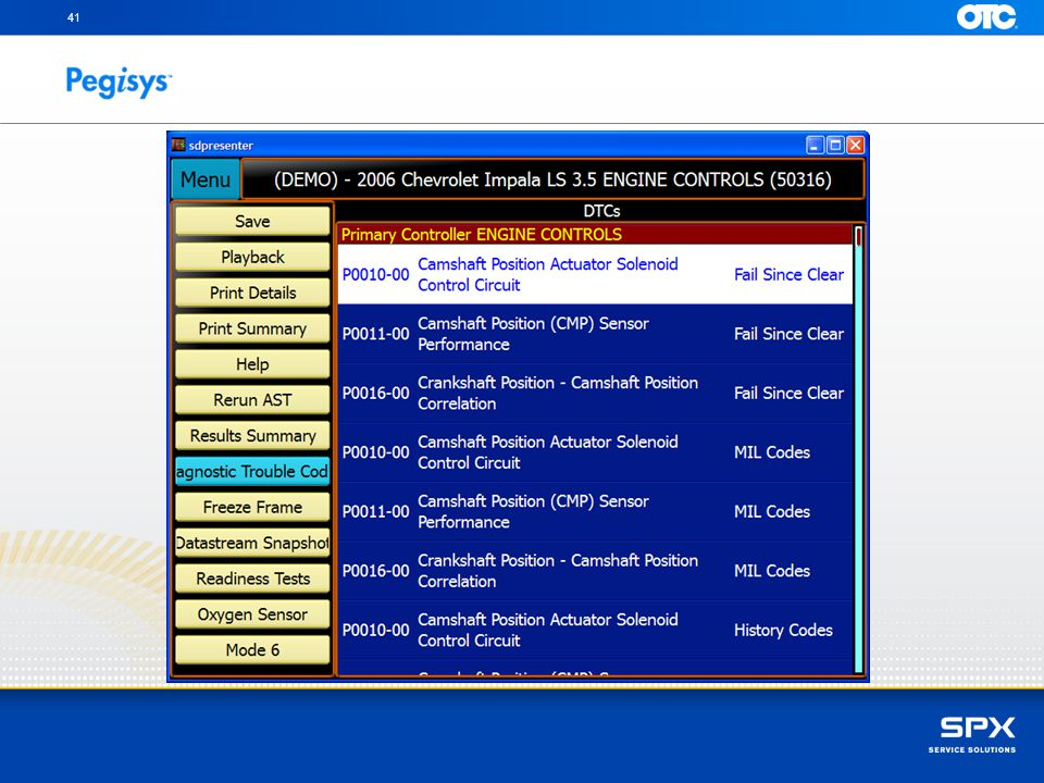 You can scroll and review Diagnostic Trouble Codes