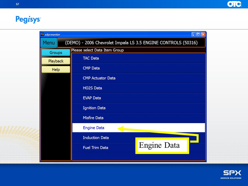 SpeedScroll to Engine Data and press Enter to review Datastream