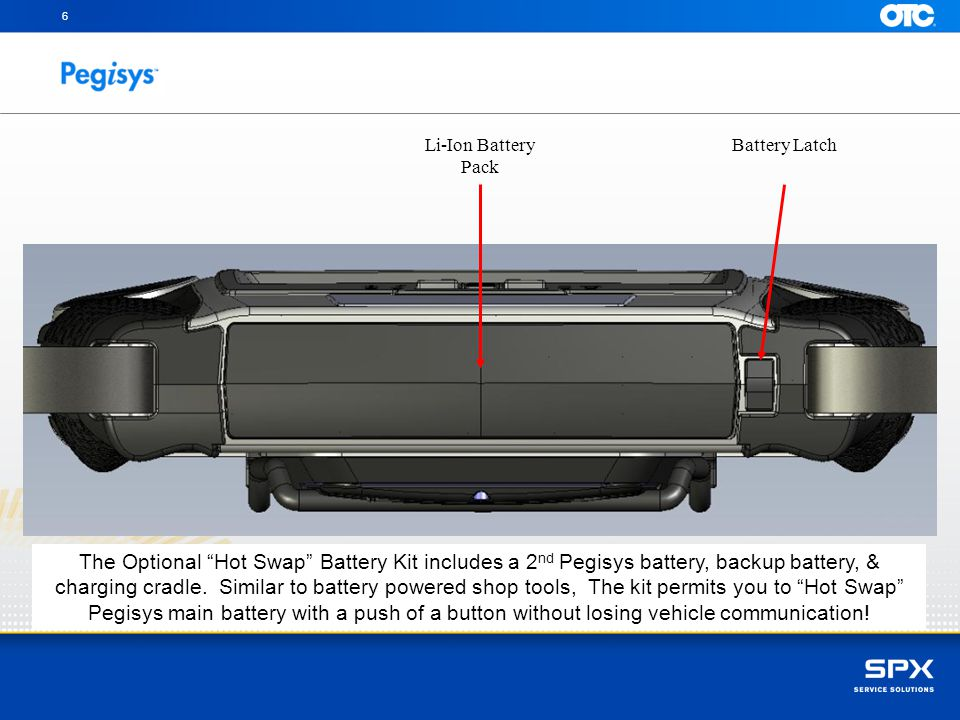 6 Li-Ion Battery Pack. Battery Latch.