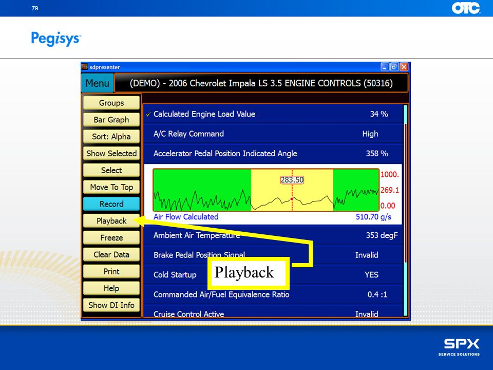 To Playback the recorded Datastream touch the Playback button