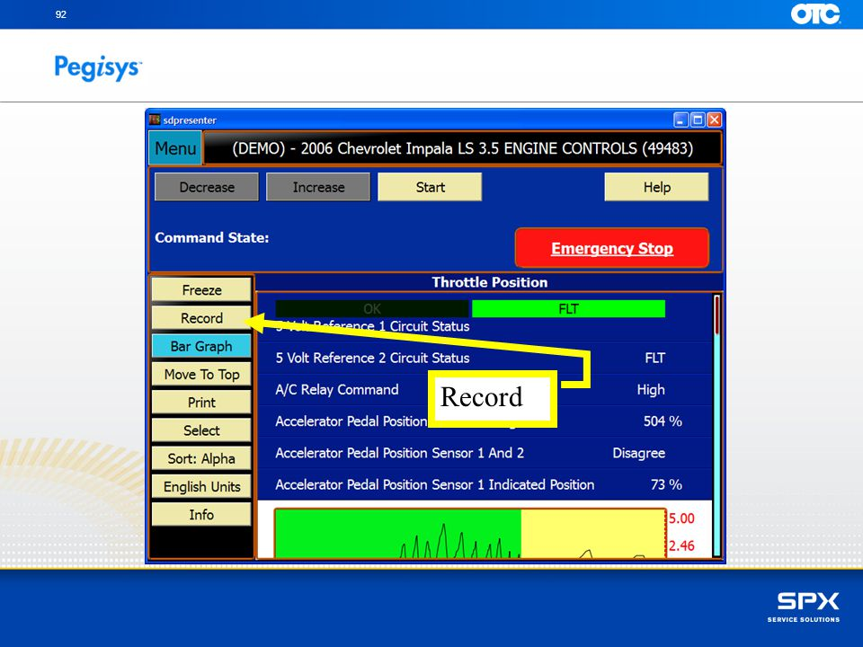 92 Record To Record PID's during Special Test, touch on Record button then begin your test