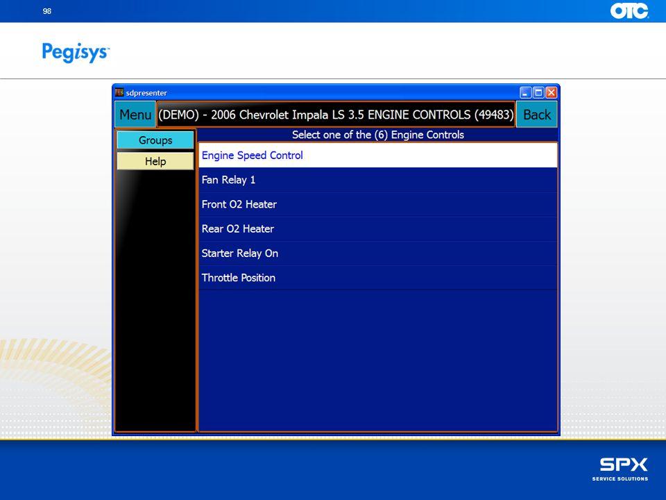 Touch Menu to return to the main diagnostic menu