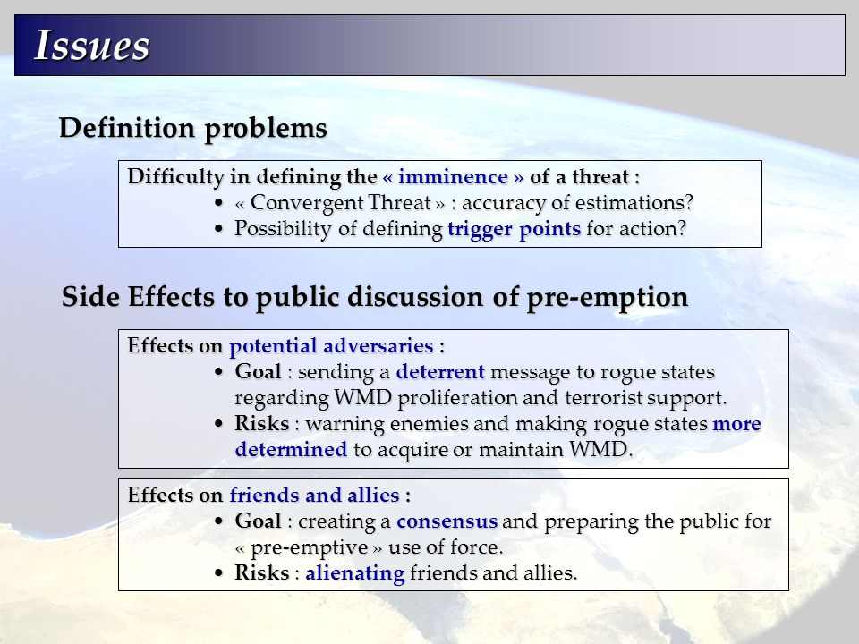 Side Effects to public discussion of pre-emption