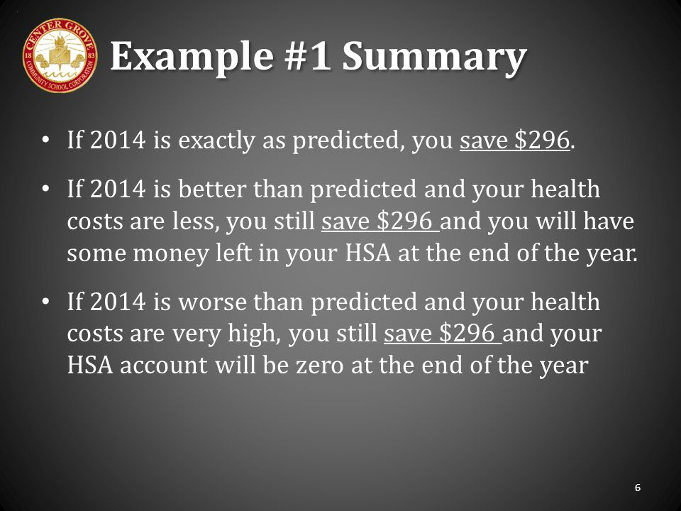Example #1 Summary If 2014 is exactly as predicted, you save $296.
