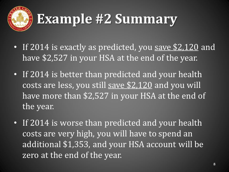 Example #2 Summary If 2014 is exactly as predicted, you save $2,120 and have $2,527 in your HSA at the end of the year.