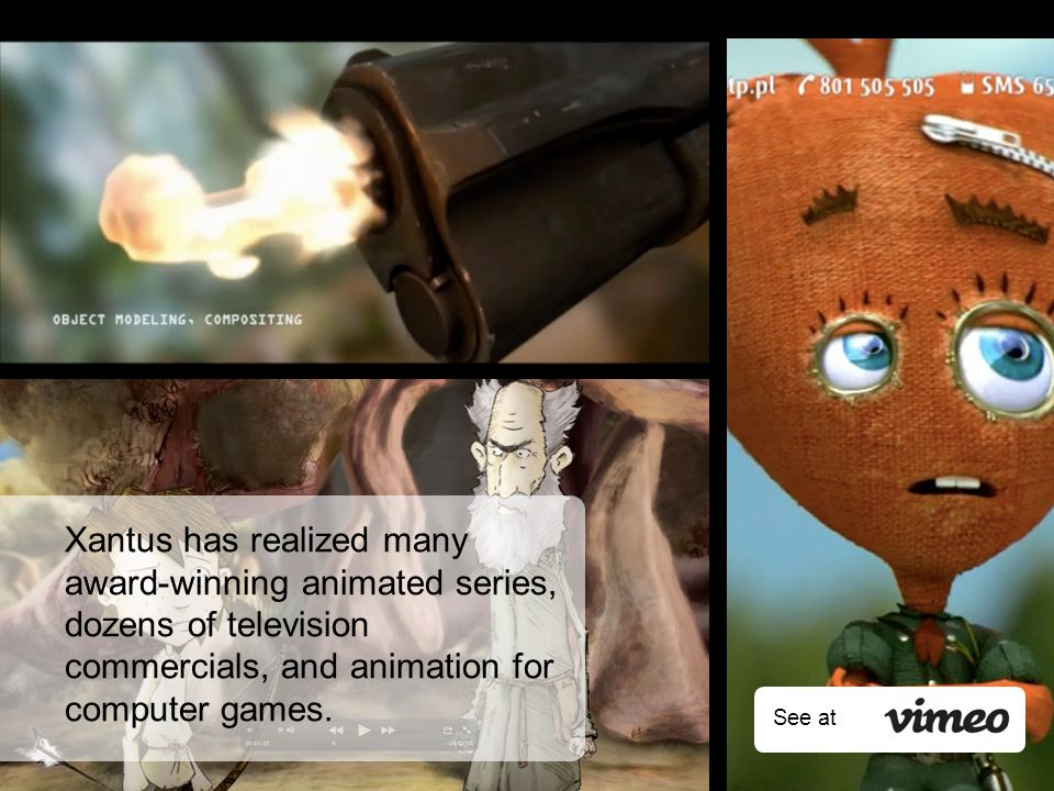 Xantus has realized many award-winning animated series, dozens of television commercials, and animation for computer games.