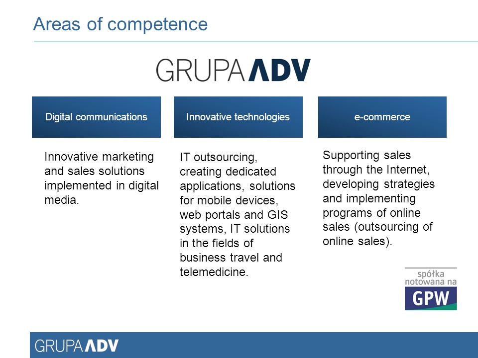 Areas of competence Digital communications. Innovative technologies. e-commerce.