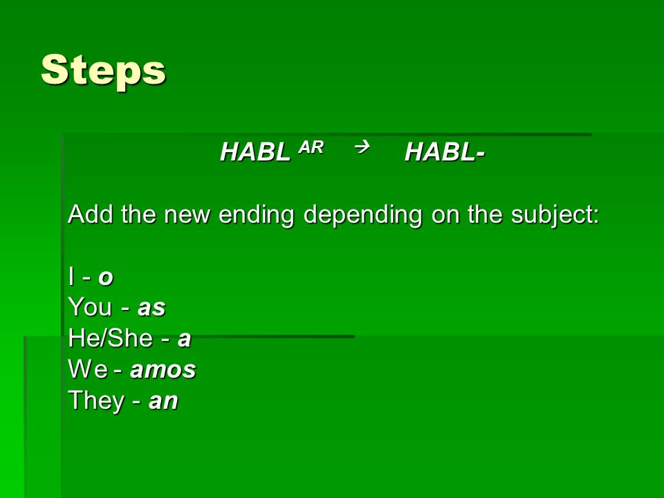 Steps HABL AR  HABL- Add the new ending depending on the subject: