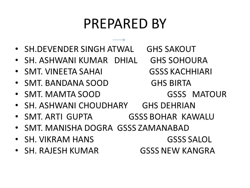 PREPARED BY SH.DEVENDER SINGH ATWAL GHS SAKOUT