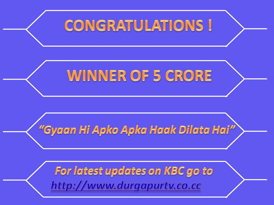 CONGRATULATIONS ! WINNER OF 5 CRORE