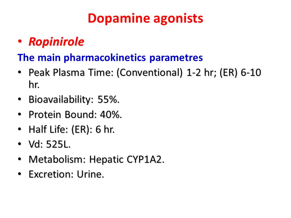 Dopamine agonists Ropinirole The main pharmacokinetics parametres