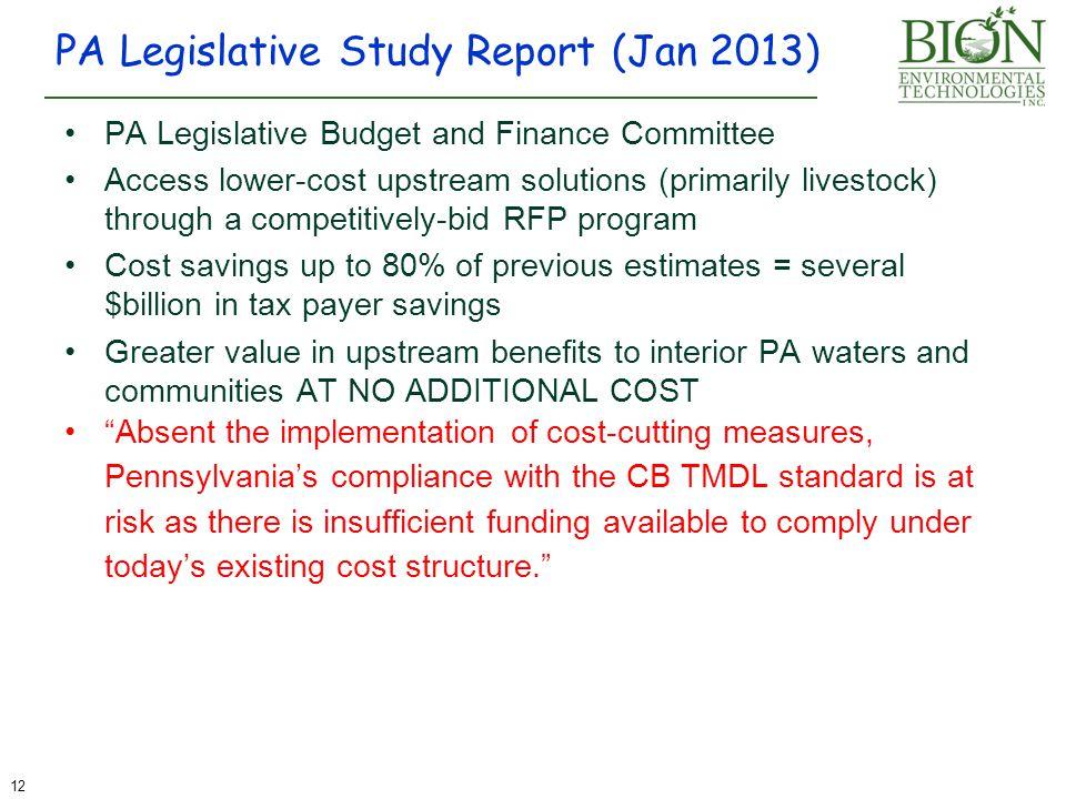 PA Legislative Study Report (Jan 2013)