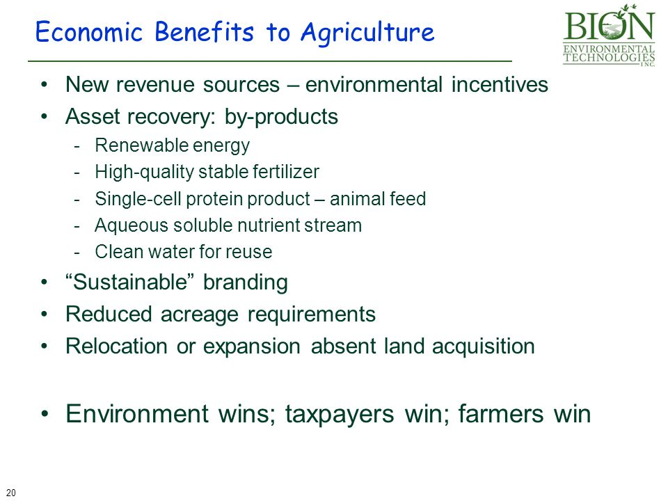 Economic Benefits to Agriculture