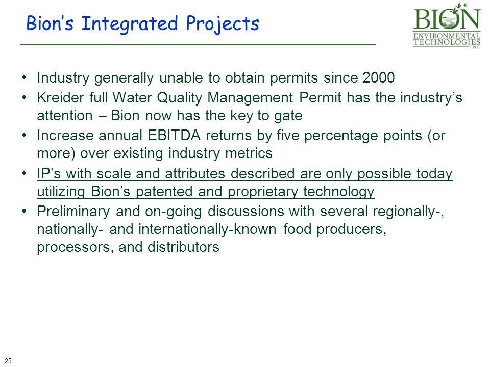 Bion's Integrated Projects