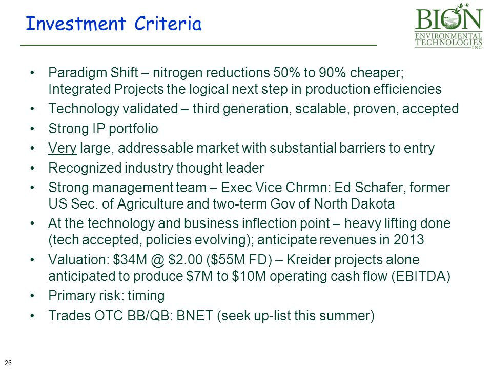 Investment Criteria Paradigm Shift – nitrogen reductions 50% to 90% cheaper; Integrated Projects the logical next step in production efficiencies.