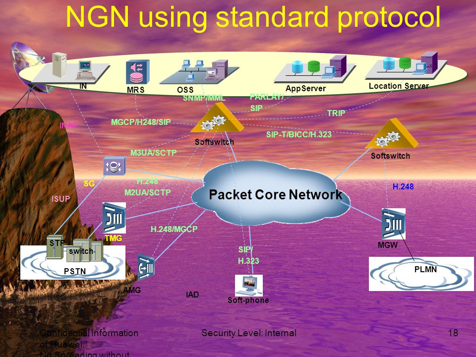 Schematic view of NGN User Services WEB VoD MMS SIP E911 Transport