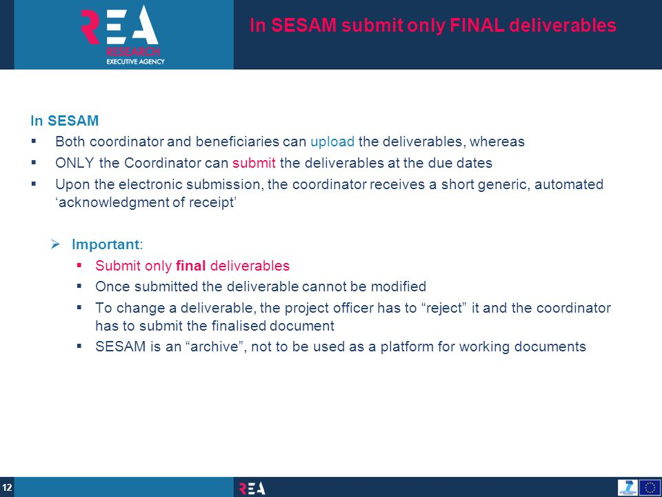 In SESAM submit only FINAL deliverables