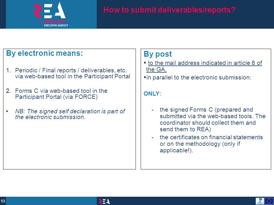 How to submit deliverables/reports