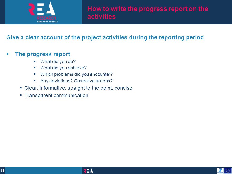 How to write the progress report on the activities