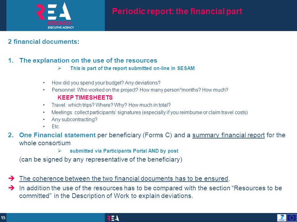 Periodic report: the financial part