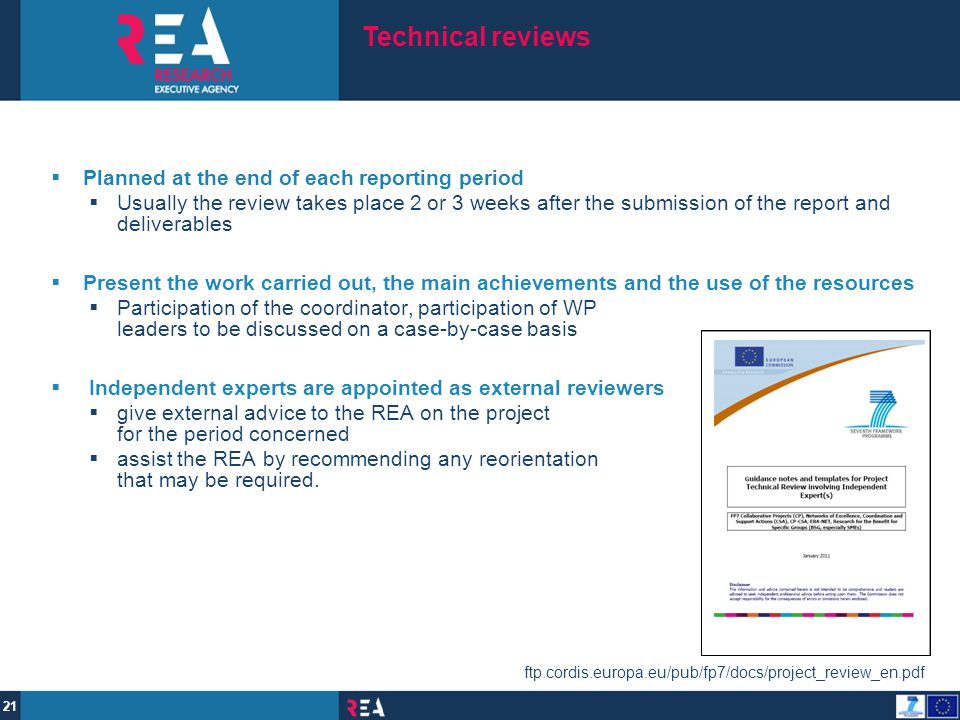 Technical reviews Planned at the end of each reporting period