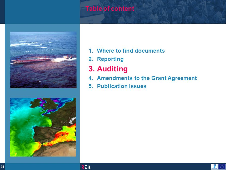 Auditing Table of content Where to find documents Reporting
