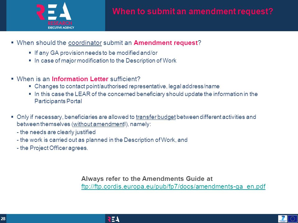 When to submit an amendment request