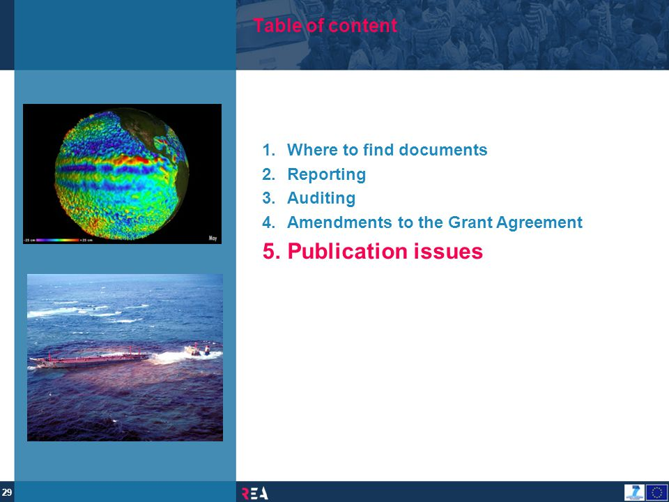 Publication issues Table of content Where to find documents Reporting