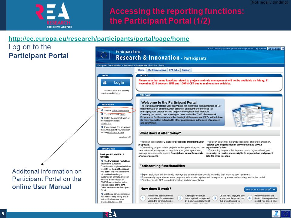 Accessing the reporting functions: the Participant Portal (1/2)