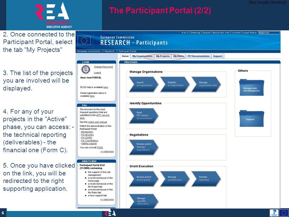 The Participant Portal (2/2)