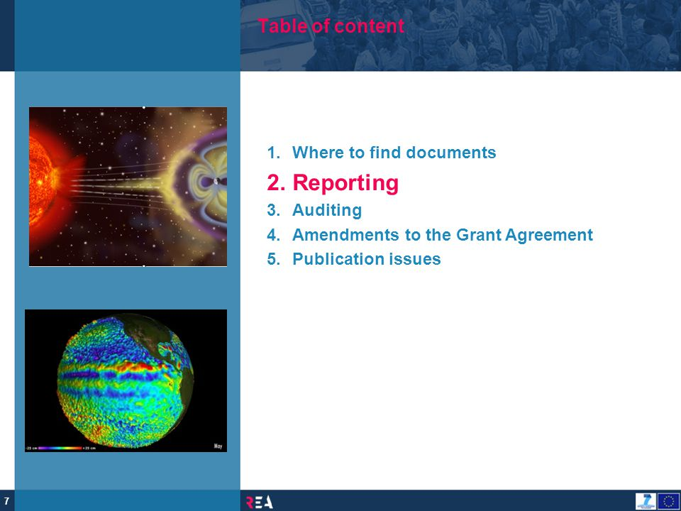 Reporting Table of content Where to find documents Auditing