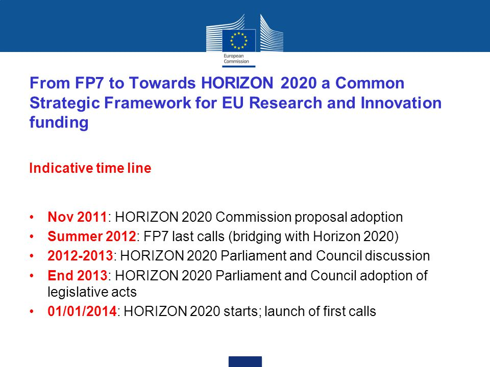 From FP7 to Towards HORIZON 2020 a Common Strategic Framework for EU Research and Innovation funding