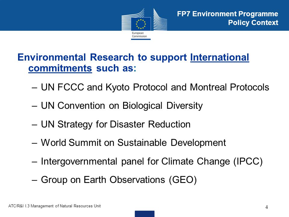 FP7 Environment Programme Policy Context