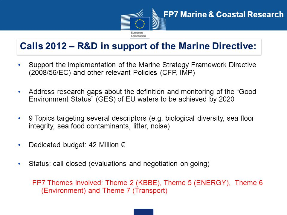 Calls 2012 – R&D in support of the Marine Directive: